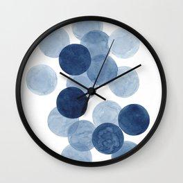 Indigo Ombre Circles Wall Clock
