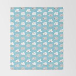 Happy and Sad Kawaii Clouds Throw Blanket