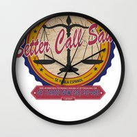 better call saul Wall Clocks featuring Breaking Bad Inspired - Better Call Saul Promotional Design - Saul Goodman - Attorney by Traci Hayner Vanover