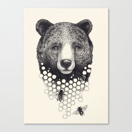Bear & Bees Canvas Print