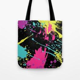 Splatter Paint Black Tote Bag