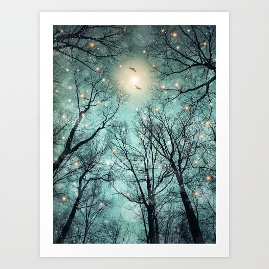 Nature Blazes Before Your Eyes (Mint Embers) Art Print
