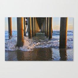 Sunset ~ Huntington Beach Pier PIlings  7/24/13 Canvas Print