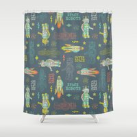 outer space Shower Curtains featuring Robots from Outer space by Silvia Dekker
