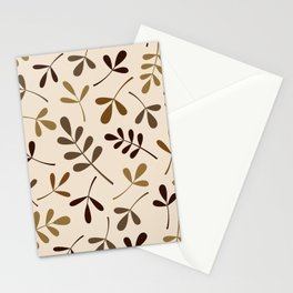 Assorted Leaf Silhouettes Gold Browns Cream Stationery Cards