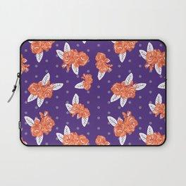Floral clemson sports college football university varsity team alumni fan gifts purple and orange Laptop Sleeve
