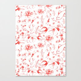 Watercolor KOI Fish in red Canvas Print