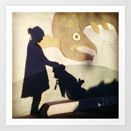 Mother And Child Shadow Art Print
