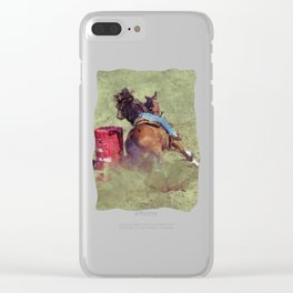 The Barrel Racer - Rodeo Horse and Rider Clear iPhone Case