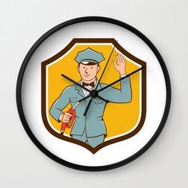 Gas Jockey Attendant Waving Shield Cartoon Wall Clock
