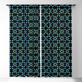 ABBEY midnight blue & emerald green & turquoise & perwinkle Blackout Curtain