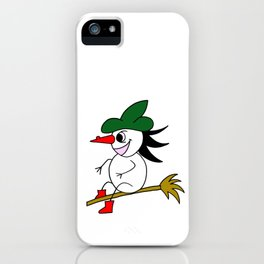 Drawn by hand a lovely witch flying on a broom iPhone Case