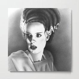 Bride of Frankenstein fan art inspired by Elsa Lanchester, based on my original hand-drawn graphite illustration Metal Print