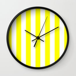 Vertical Stripes (Yellow/White) Wall Clock