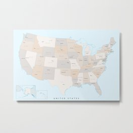 """Map of the USA with states and state capitals, """"Keane"""" Metal Print"""