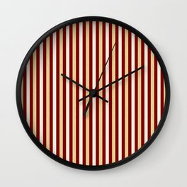 Gold and Wine Vertical Stripes Wall Clock