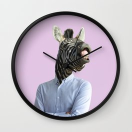 Contemporary art collage. Funny laughing zebra head on human body in business shirt.  Wall Clock