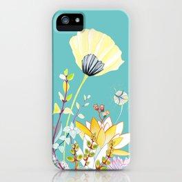 Yellow poppy - Marine blue iPhone Case