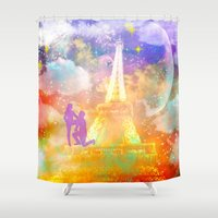 eiffel Shower Curtains featuring space Eiffel  by haroulita