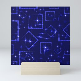 Sea rhombuses and squares in intersection with night stars on a blue background. Mini Art Print