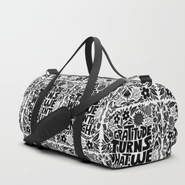 gratitude turns what we have into enough - black Duffle Bag