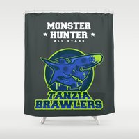 monster hunter Shower Curtains featuring Monster Hunter All Stars - The Tanzia Brawlers by Bleached ink