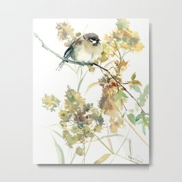 Sparrow and Dry Plants, fall foliage bird art bird design old fashion floral design Metal Print