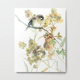 Sparrow and Dry Plants, fall foliage bird art bird design old fashion floral design Metal Print