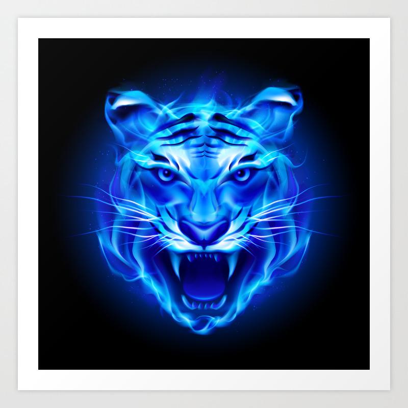 Blue Fire Tiger Face Art Print By Fantasyartdesigns Society6