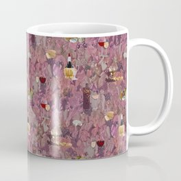 Wine and Cheese Pattern Print Coffee Mug