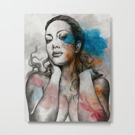 Pillars | nude busty woman realistic portrait Metal Print