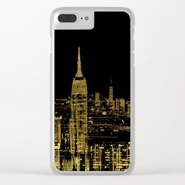 Abstract Gold City  Skyline Design Clear iPhone Case