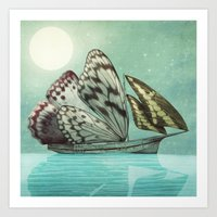 voyage Art Prints featuring The Voyage by Eric Fan