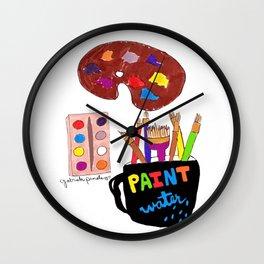 Paint Water, Artist tools, Pinales Illustrated Wall Clock