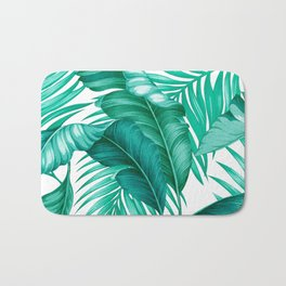HAWAIIAN GARDEN TROPICAL LEAVES | turquoise white Bath Mat