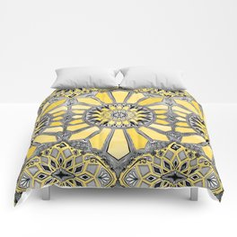 Sunny Yellow Radiant Watercolor Pattern Comforters