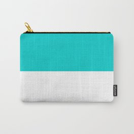 White and Cyan Horizontal Halves Carry-All Pouch