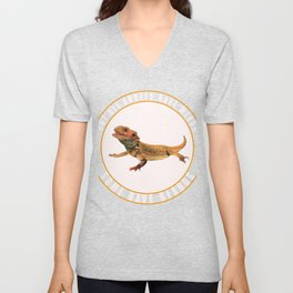 Some Angels Have Beards Bearded Dragon Lizard  Unisex V-Neck