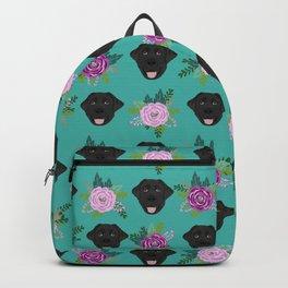 Black lab florals labrador retriever dog breed pet friendly pattern flowers bouquet Backpack