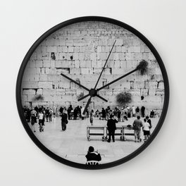 Holy-place, religious jewish men talking | The Western Wall in the Old City, Jerusalem, Israel | Fine art print photography Art Print Wall Clock
