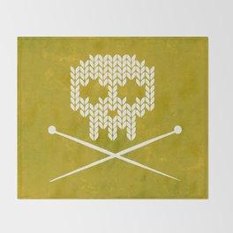 Knitted Skull (White on Yellow) Throw Blanket