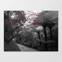 Dark Summer - Nature B&W photography with a dash of red Canvas Print