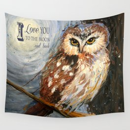 I Love You To The Moon And Back Owl Wall Tapestry