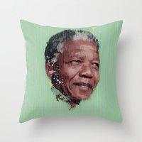 mandela Throw Pillows featuring Nelson Mandela by LightCircle