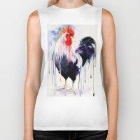rooster Biker Tanks featuring Rooster  by Slaveika Aladjova