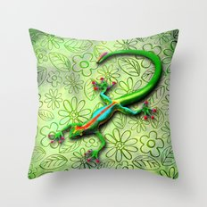 Gecko Lizard Rainbow Colors Throw Pillow