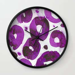 Fuschia pink connected rings. Wall Clock