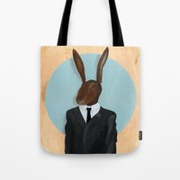 david lynch Tote Bags featuring David Lynch | Rabbit by FAMOUS WHEN DEAD