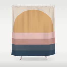 Minimal Retro Sunset - Neutral Shower Curtain