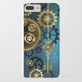 Turquoise Background with Gears ( Steampunk ) iPhone Case